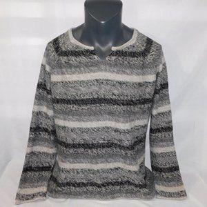 Womens XL Eddie Bauer Gray Black Striped Sweater